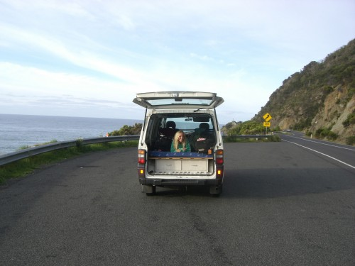 me in the van on the great ocean road