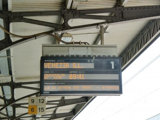 Train sign from Trieste to Venice
