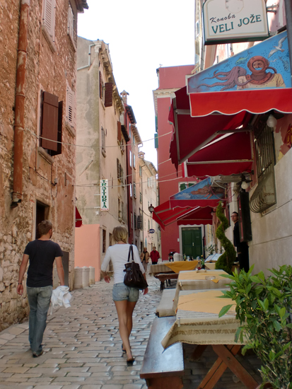 Cobbled street in Rovinj, Istria, North Croatia