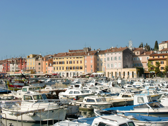 Harbour with boats in Rovinj, Istria, Croatia