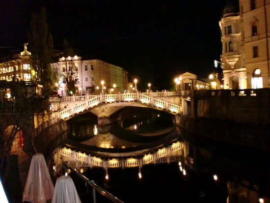 Ljubljana River at Night, Slovenia