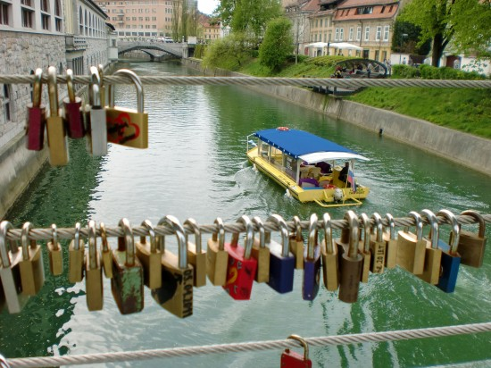 Padlocks on Bridge in Ljubljana, Slovenia