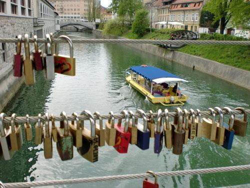 Locks on the River, Ljubljana, Slovenia