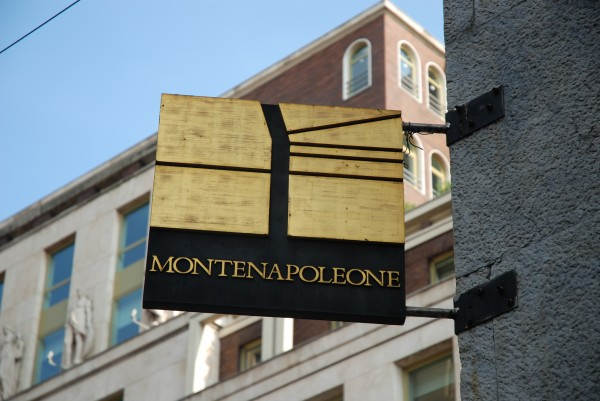 Via Montenapoleone street sign, Milan fashion district