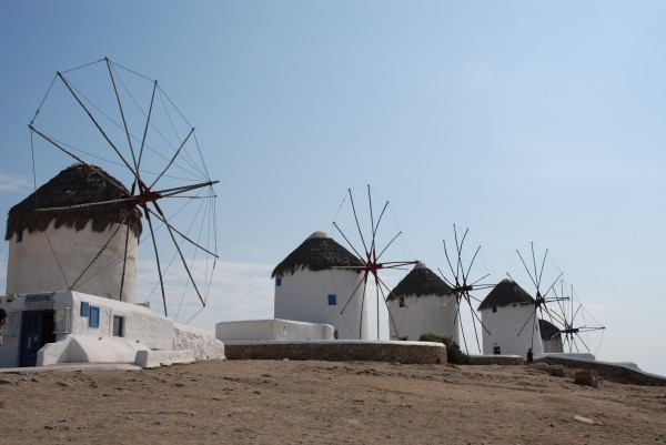 Windmills in Mykonos Town, Cyclades, Greece