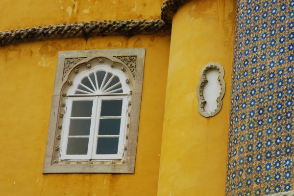 Yellow walls of the Pena Palace in Sintra, Portugal