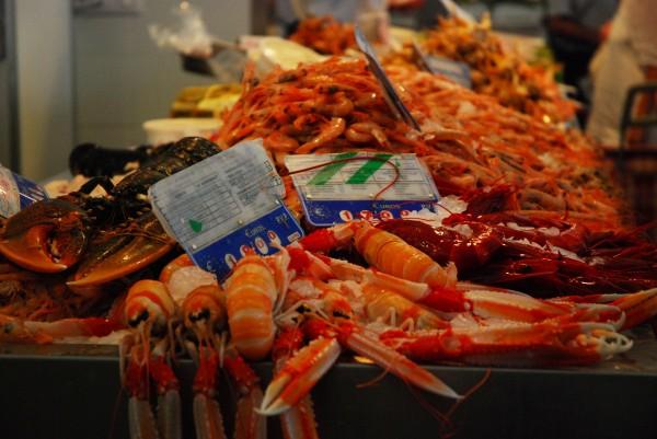 Seafood at Central Market in Cadiz, Spain