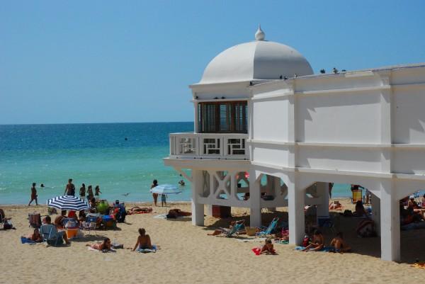 White spa on Santa Catalina Beach in Cadiz, Spain