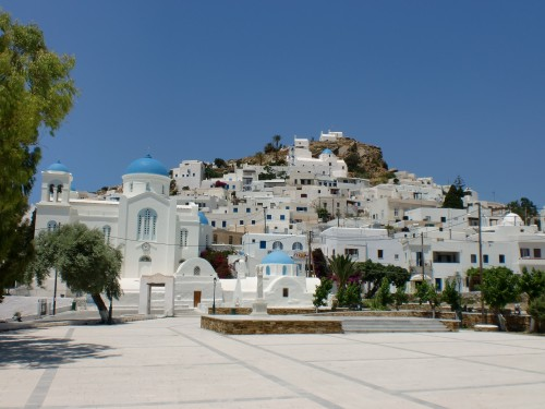 chora town in ios, greek islands, greece