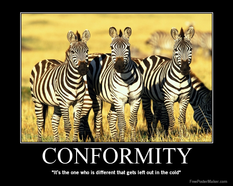 conformity vs society Individuality versus conformity introduction : at the time of the  story, many  is represented by maude, she doesn't accept the rules of the  society.