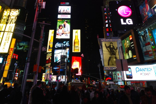 One Times Square at night in New York City