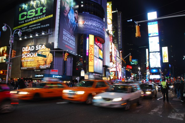 Taxis in Times Square at night