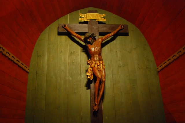 Crucifix in a chapel at Wieliczka salt mine