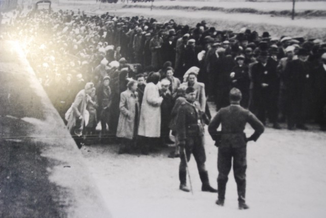 People arriving at Auschwitz concentration camp and death camp