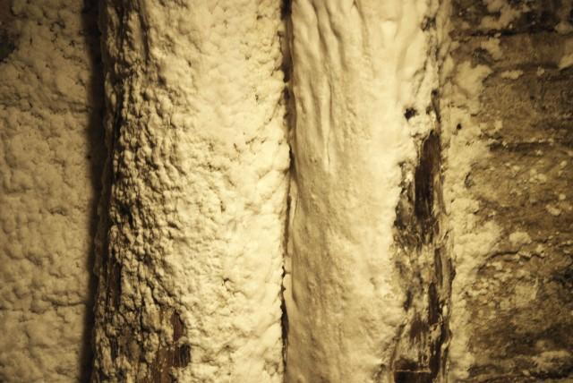 Salt on the walls at Wieliczka Salt Mine