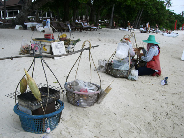 Cooking corn on the Beach in Koh Samui, Thailand