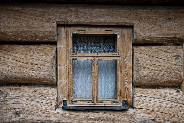 Wooden Window of a house in Zakopane, southern Poland