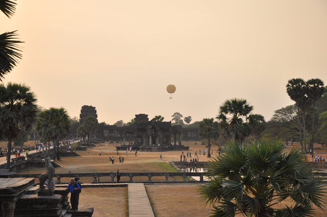 Hot air balloon at sunset over Angkor Wat