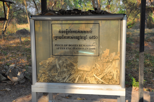 Bones of victims at the Killing Fields in Cambodia