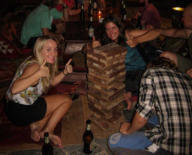 Giant Jenga at Utopia Bar Luang Prabang