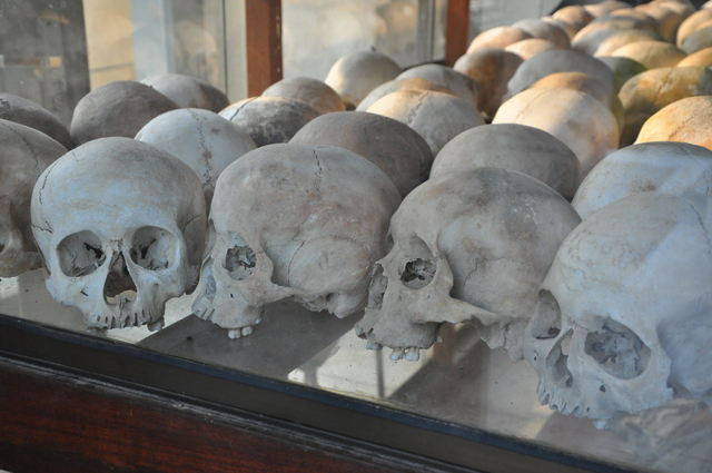 Skulls inside the stupa at the Killing Fields in Cambodia