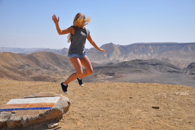 Jumping photo at Makhtesh Ramon crater