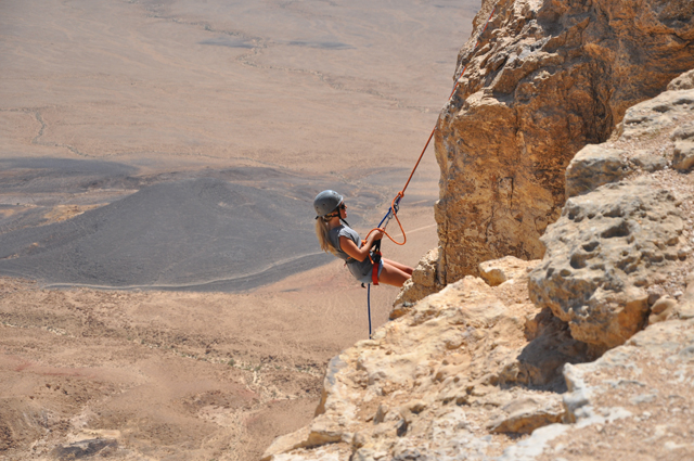 Rappelling Mitzpe Ramon Crater in Israel