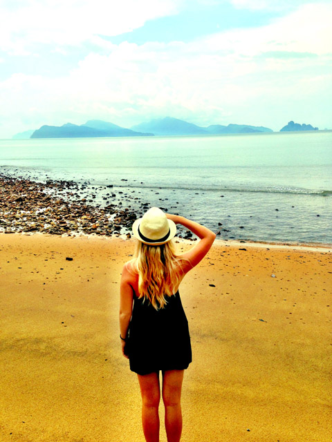 Striking a pose on one of the Langkawi beaches