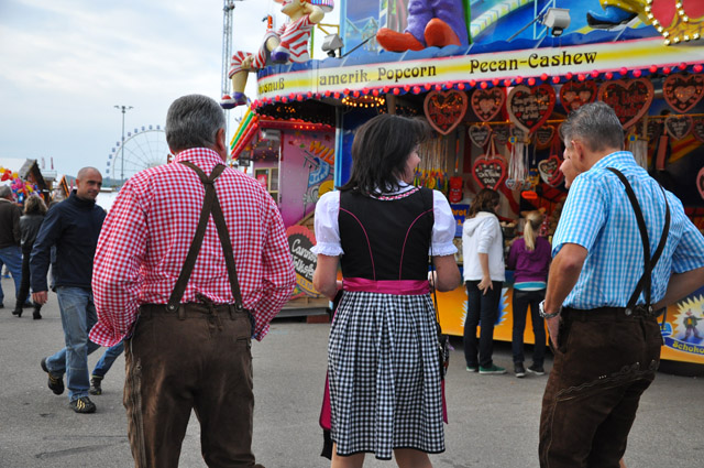 Germans wearing Lederhosen and Dirndl