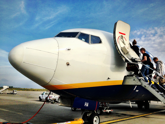 Ryanair budget airline boarding aircraft