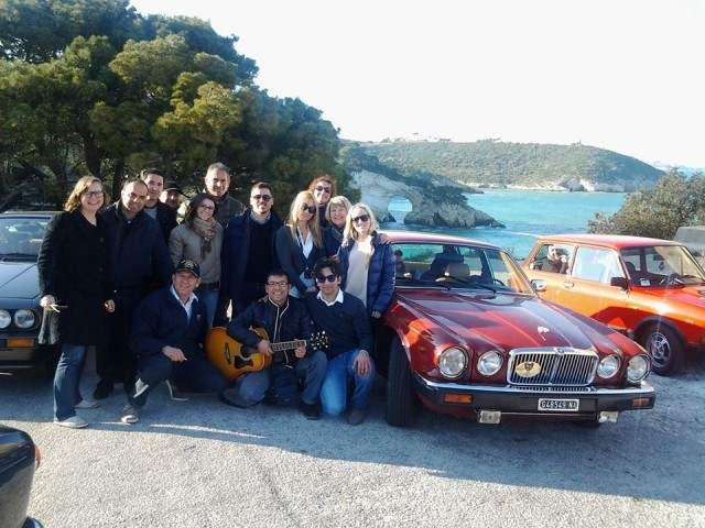 Group blogger photo on the scenic drive along the Gargano Coast, Italy