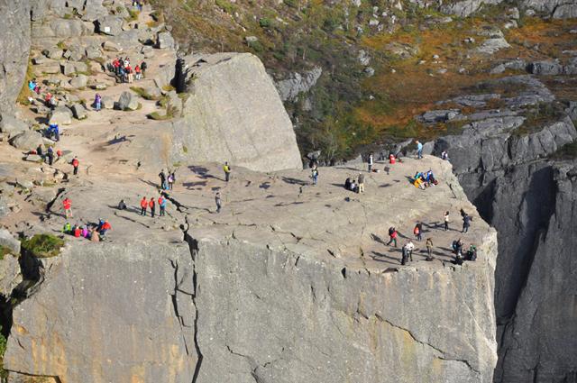 Tourists on top of Preikestolen Norway
