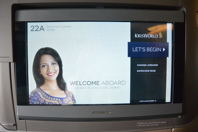Singapore Airlines 777 Business Class Personal TV Screen