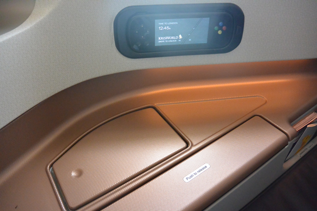 Singapore Airlines New Business Class Storage and tray table