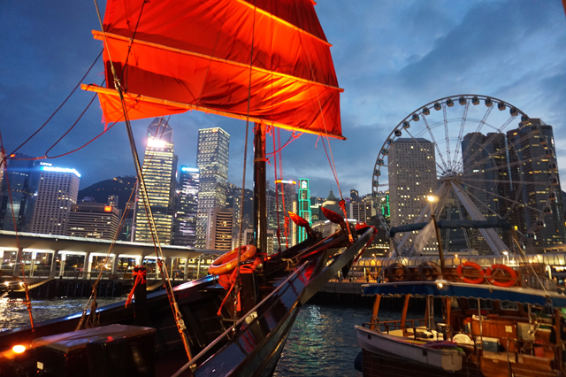 Aqua Luna Hong Kong Red Sail Junk Boat