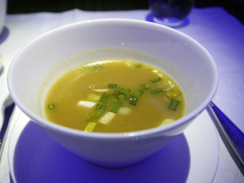 Chicken Coconut Soup Qatar Airways Business Class Food