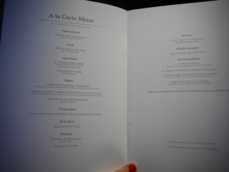 Qatar Airways A La Carte Menu Business Class