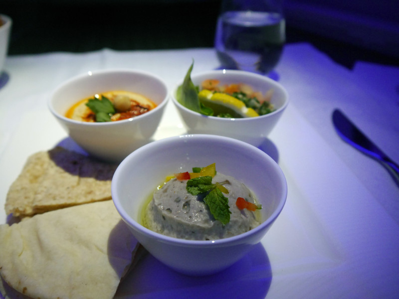 Qatar Airways Arabic Mezze Business Class Meal