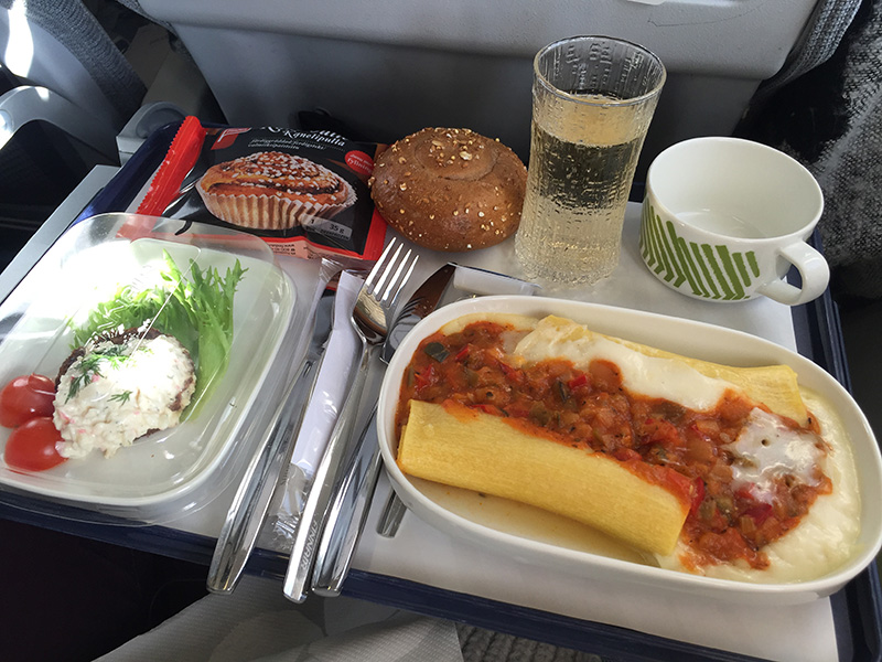 Finnair London to Helsinki Business Class Meal