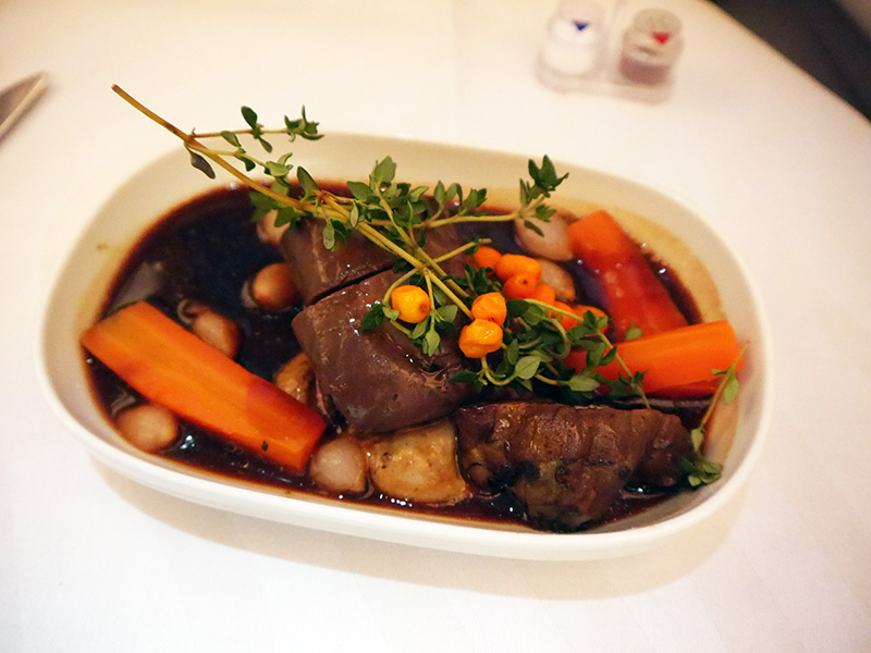 Finnair Reindeer Entrecote Business Class Food