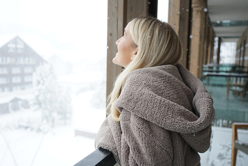 Looking out at snow in the Swiss Alps