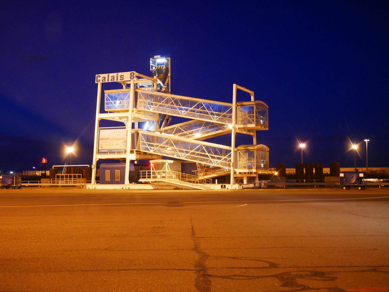 Calais Ferry Port at night