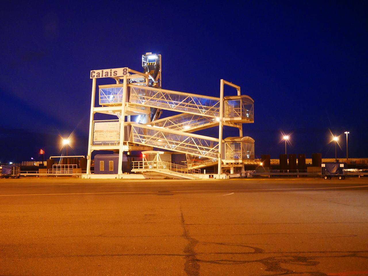 Calais Ferry Port at night